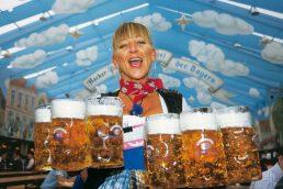 Um dos cartões-postais da festa são as garotas que carregam vários canecos de cerveja ao mesmo tempo. As seis cervejarias que marcam presença no evento são: Paulaner, Hofbäu, Löwenbräu, Spaten, Hacker-Pschorr e Augustiner. Além de passarem pelo teste de qualidade da Bavária e serem fabricadas em Munique, as marcas começam a produzir a cerveja especial para o evento em março. A bebida é conhecida como Märzen (março em alemão) ou Oktober (por conta da festa)
