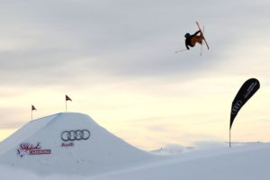 WANAKA, NEW ZEALAND - AUGUST 28: James Woods of Great Britain competes in the FIS Freestyle Ski World Cup Slopestyle Finals during the Winter Games NZ at Cardrona Alpine Resort on August 28, 2015 in Wanaka, New Zealand. (Photo by Neil Kerr/Getty Images)