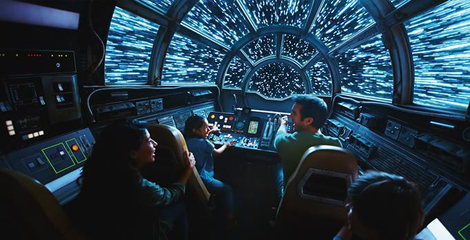 Inside Millennium Falcon: Smugglers Run, Disney guests will take the controls in one of three unique and critical roles aboard the fastest ship in the galaxy when Star Wars: Galaxy's Edge opens May 31, 2019, at Disneyland Resort in California and Aug. 29, 2019, at Walt Disney World Resort in Florida. (Disney Parks)