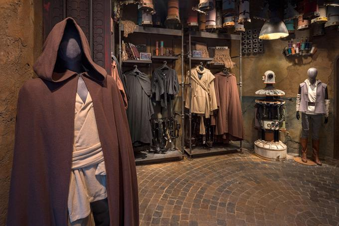 Inside Black Spire Outfitters in Star Wars: Galaxy's Edge at Disneyland Park in California and opening Aug. 29, 2019, at Disney's Hollywood Studios in Florida, guests will find the latest in galactically trendy apparel and accessories. (Kent Phillips, photographer)