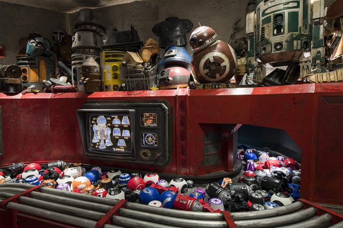 Inside Droid Depot in Star Wars: Galaxy's Edge at Disneyland Park in California and opening Aug. 29, 2019, at Disney's Hollywood Studios in Florida, guests will be able to build and customize their own droids. (David Roark, photographer)