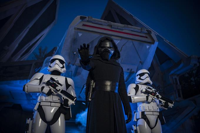 When guests explore Star Wars: Galaxy's Edge at Disneyland Park in California and opening Aug. 29, 2019, at Disney's Hollywood Studios in Florida, they may encounter Kylo Ren as he roots out the Resistance on Batuu flanked by Stormtroopers. (Matt Stroshane, photographer)