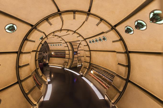 When guests enter Millennium Falcon: Smugglers Run in Star Wars: Galaxy's Edge at Disneyland Park in California and opening Aug. 29, 2019, at Disney's Hollywood Studios in Florida, they will walk the hallways and experience other memorable areas of the fastest ship in the galaxy. (Abigail Nilsson)