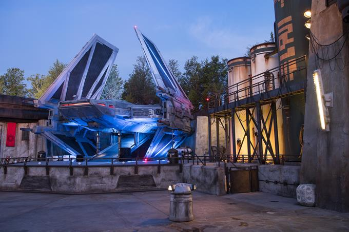 When guests explore Star Wars: Galaxy's Edge at Disneyland Park in California and opening Aug. 29, 2019, at Disney's Hollywood Studios in Florida, they will see a new First Order TIE echelon ship, used for small troop and cargo transport. (David Roark, photographer)
