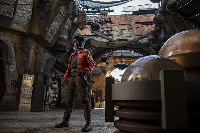 When guests explore Star Wars: Galaxy's Edge at Disneyland Park in California and opening Aug. 29, 2019, at Disney's Hollywood Studios in Florida, they may come across Vi Moradi, a Resistance spy and intelligence officer trying to stay one step ahead of the First Order. (Matt Stroshane, photographer)