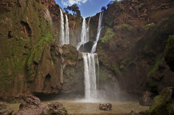 Vista da cachoeira Cascatas de Ouzud, no Marrocos | Divulgação