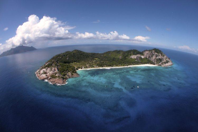 Imagem aérea ilha em Seychelles